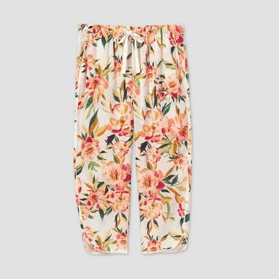 Women's Floral Print Simply Cool Crop Pajama Pants - Stars Above™ Cream M
