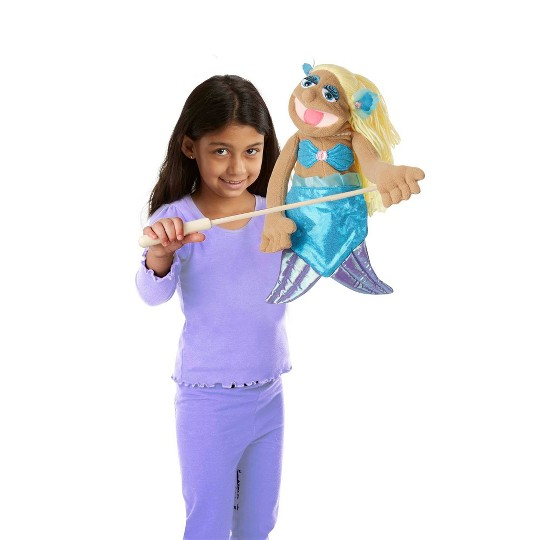 Melissa & Doug Mermaid Puppet With Detachable Wooden Rod for Animated Gestures image number null