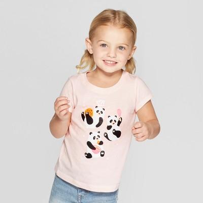Toddler Girls' Short Sleeve 'Baker Pandas' Graphic T-Shirt - Cat & Jack™ Pink 12M