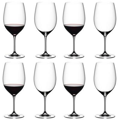 Riedel 6416/0-POL Vinum Cabernet, Souvignon, Merlot, Bordeaux Dishwasher Safe Crystal Red Wine Glass Stemware with Microfiber Polishing Cloth (8 Pack)