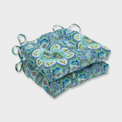 2pk Lagoa Tile Reversible Chair Pads Blue - Pillow Perfect - image 1 of 2