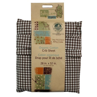 1pc Brown Checkered 100% Organic Cotton Crib Toddler Fitted Sheet - Store51..