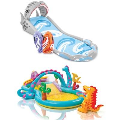 Intex Inflatable Surf 'N Slide Kids Play Center & Dinoland Kids Play Center Pool