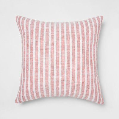 Woven Stripe Square Throw Pillow Red - Threshold™