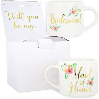 Blue Panda Set of 2 Maid of Honor & Bridesmaid Stackable Bone China Coffee Mug Tea Cup 15oz Wedding Gift