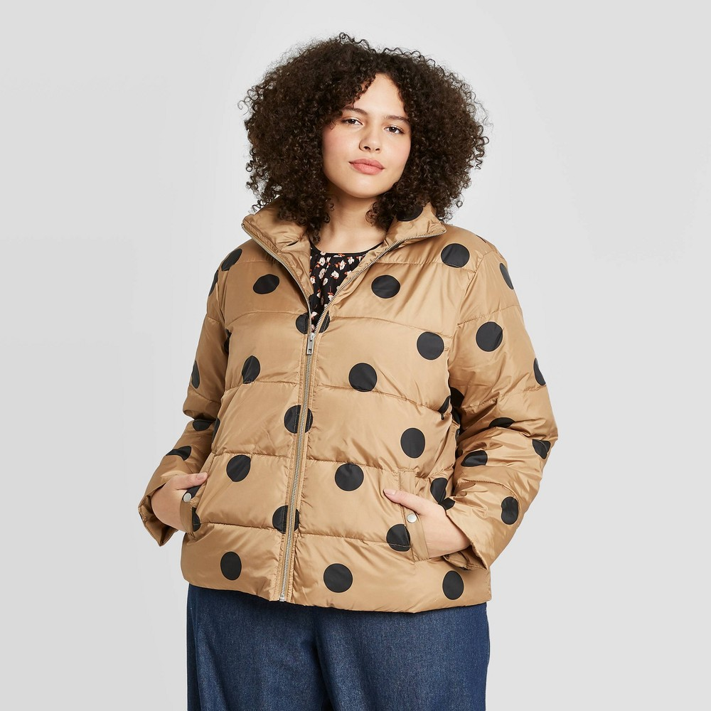 Women 39 S Plus Size Polka Dot Print Puffer Jacket Who What Wear 8482 Brown 4x