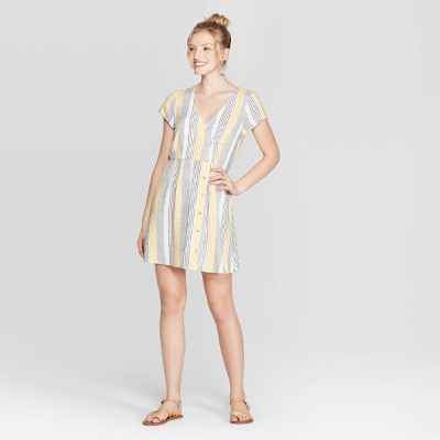 Women's Striped Short Sleeve V Neck Button Down Wrap Dress   Xhilaration Ivory by Neck Button