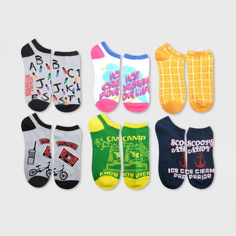 Image of Women's Stranger Things 6pk Low Cut Socks - Assorted Colors 9-11, Women's, Size: Small, Gray
