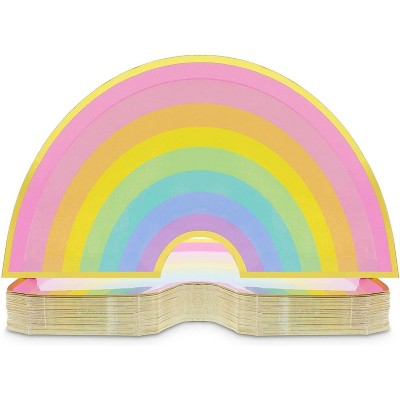Blue Panda 48 Pack Rainbow Disposable Paper Plates for Kids Birthday Party 10 x 5.5 Inches