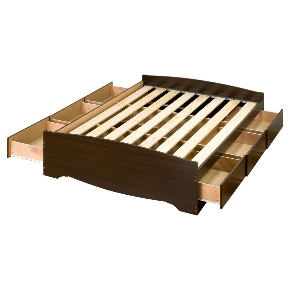 6 drawer Platform Storage Bed - Full / Double - Espresso - Prepac, Espresso Brown