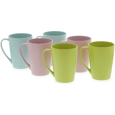 Okuna Outpost 6-Pack Unbreakable Wheat Straw Tea Cups Coffee Mugs with Handle 12 Oz, 3 Colors