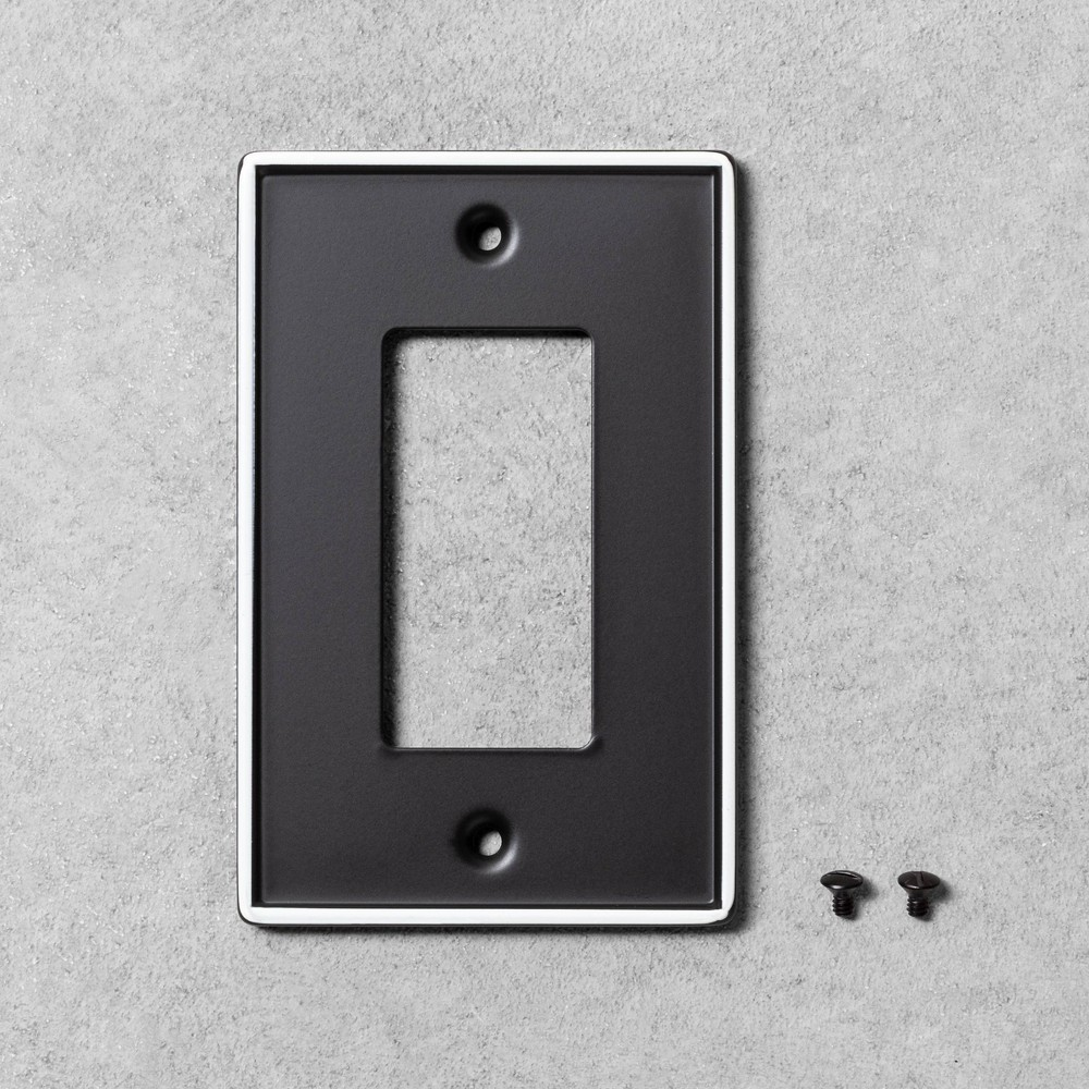 Image of 2pk Single Toggle Switch Plate Black Metal - Hearth & Hand with Magnolia