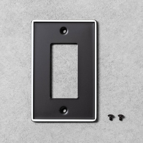 2pk Metal Painted Enamel Toggle Switch Plate Black - Hearth & Hand™ with Magnolia - image 1 of 1