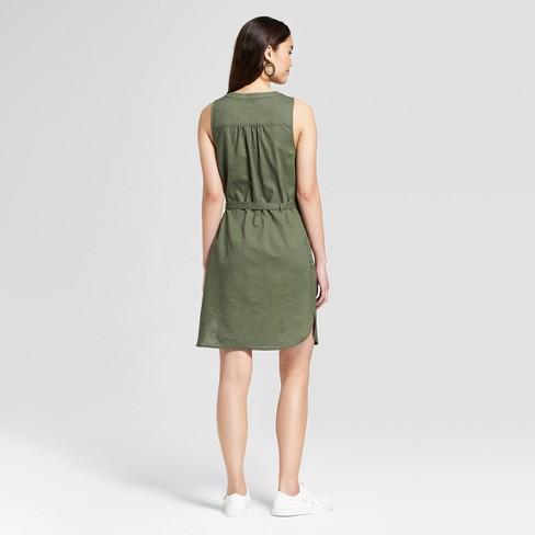 571ce2fe82d06 Women s Sleeveless Linen Shirtdress - A New Day™ Olive   Target