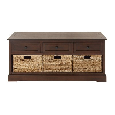 Wooden Chest with Wicker Drawers Brown - Olivia & May