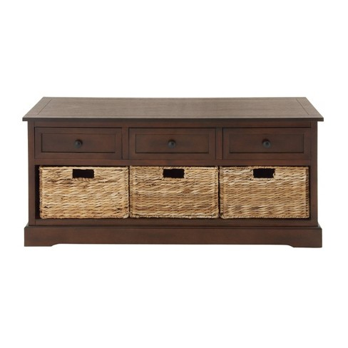 Wooden Chest with Wicker Drawers Brown - Olivia & May - image 1 of 4