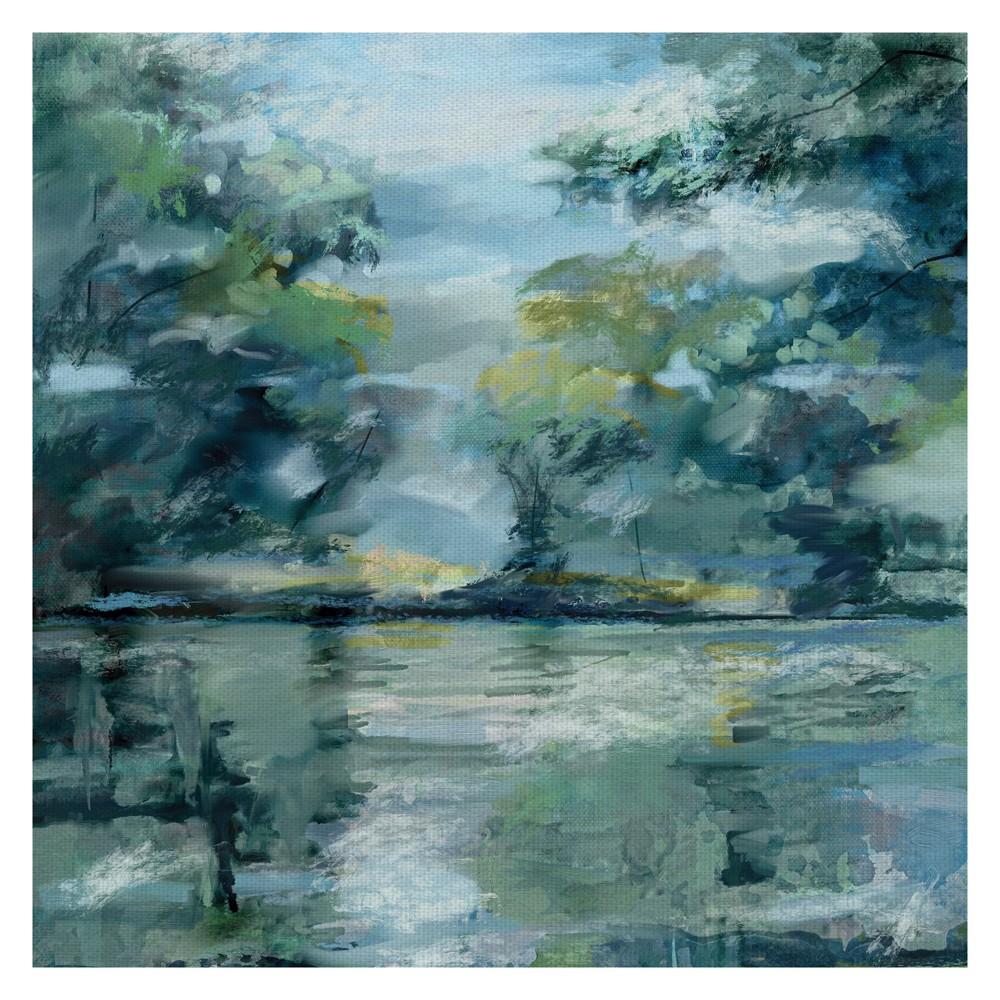 "Image of ""35""""x35"""" Lakeside Vista By Studio Arts Art On Canvas - Fine Art Canvas, Multi-Colored"""