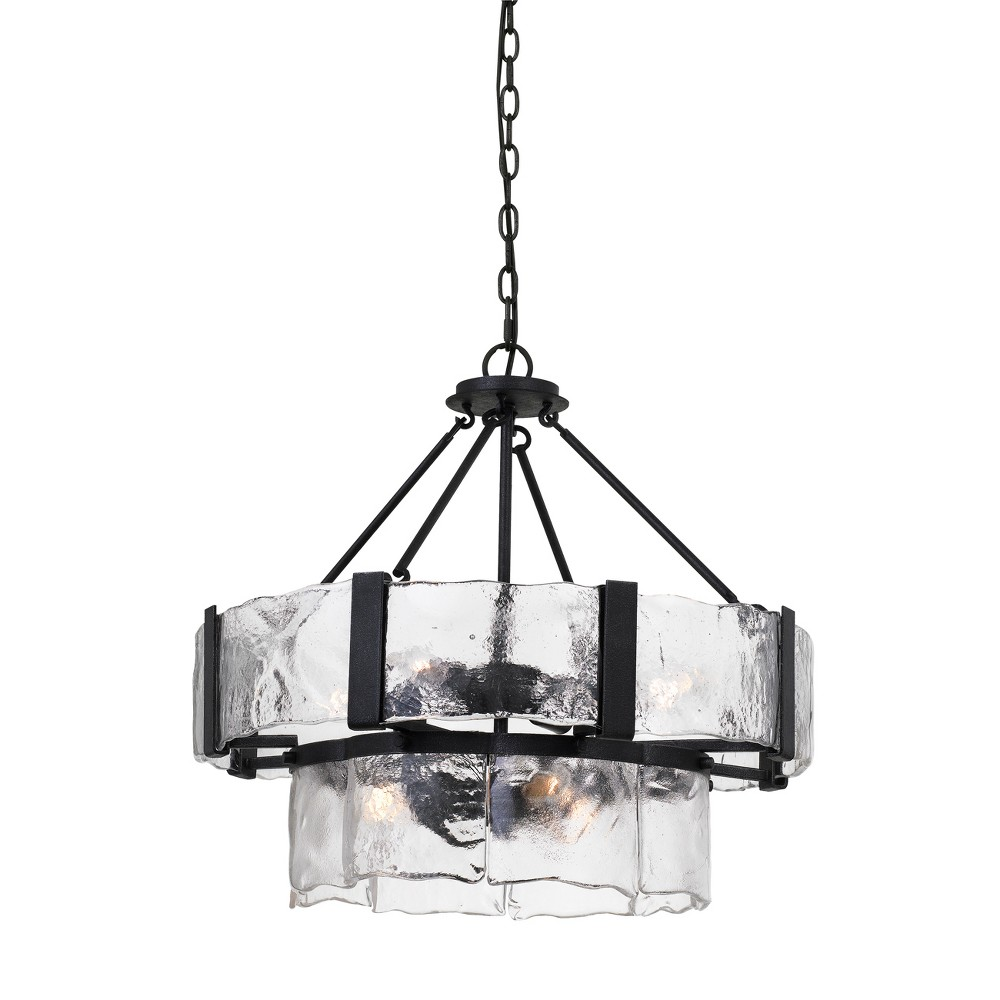 Siena Forged Iron Chandelier With Hand Crafted Glass Black 1.5 - Cal Lighting