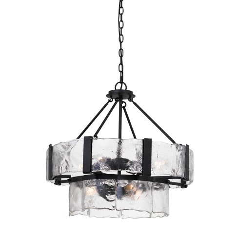 "Siena Forged Iron Chandelier With Hand Crafted Glass Black 1.5"" - Cal Lighting - image 1 of 2"