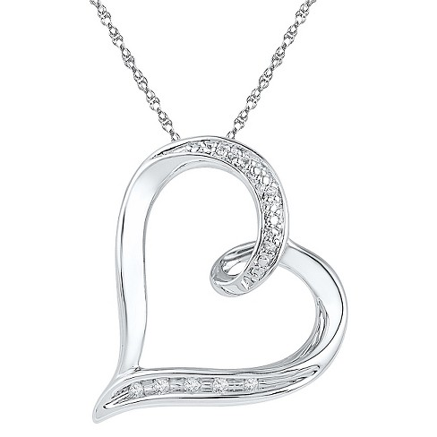 "Heart Pendant Necklace with Diamond Accents in Sterling Silver - 18"" (IJ-I2-I3) - image 1 of 1"