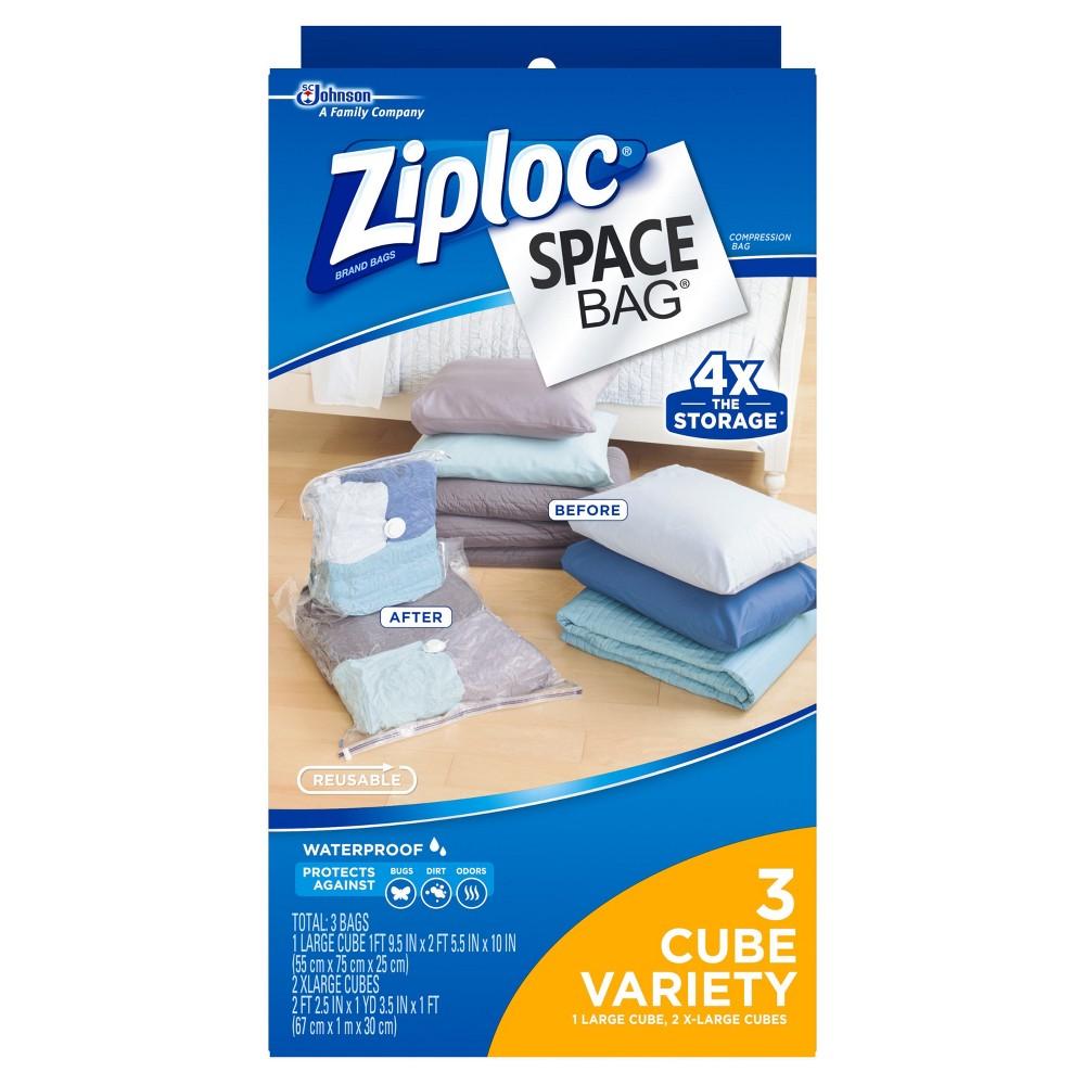 Ziploc Space Bag 3ct Cube Bags: 1L, 2XL, Clear