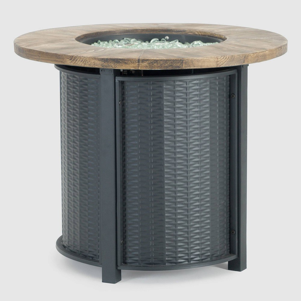 "Image of ""Logan 30""""x30"""" Round Patio Fire Table - Black - Sego Lily"""