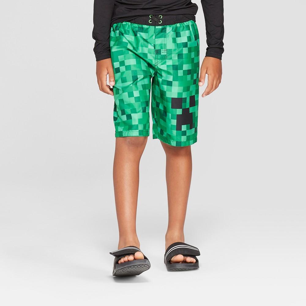 Boys' Minecraft Swim Trunks - Green S