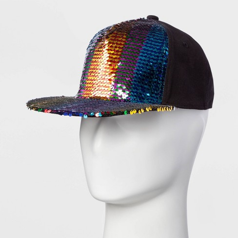 Pride Adult Gender Inclusive Rainbow Sequins Trucker Hat - Rainbow One Size - image 1 of 2