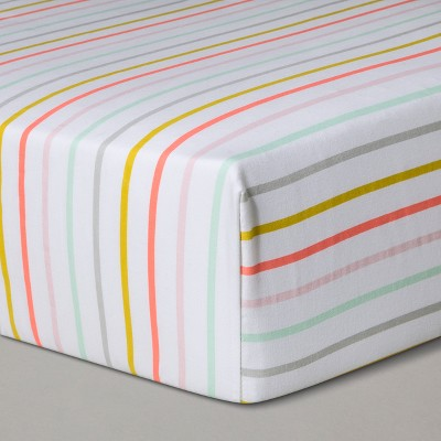 Crib Fitted Sheet Multi-Stripes - Cloud Island™ White