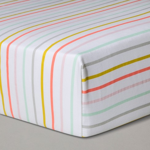 Crib Fitted Sheet Multi-Stripes - Cloud Island™ White - image 1 of 2