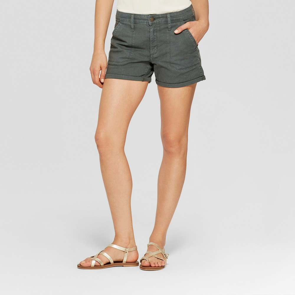 Women's High-Rise Midi Utility Jean Shorts - Universal Thread Dark Wash 6, Blue