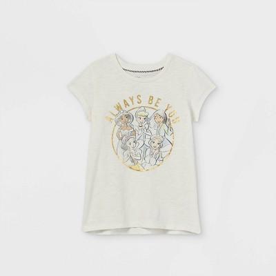 Girls' Disney Princess Always Be You Cap Sleeve Graphic T-Shirt - Off White