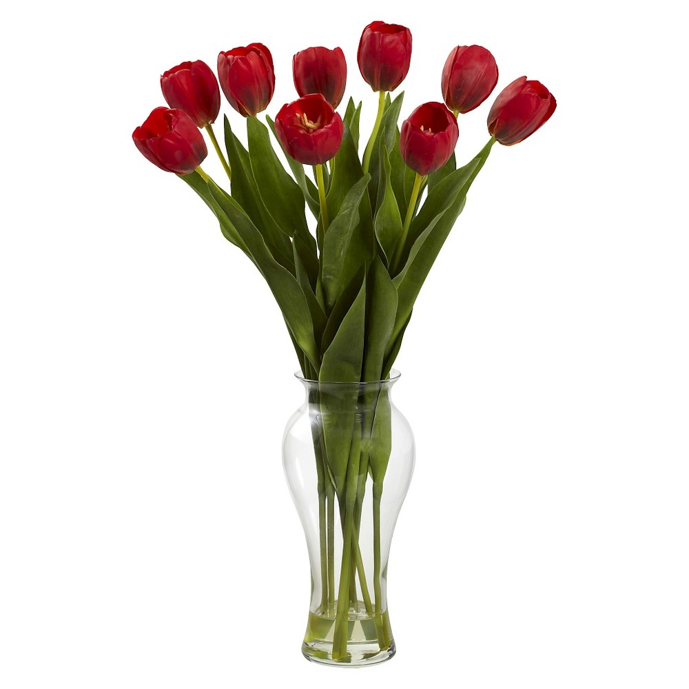 Nearly Natural 24 Tulips with Vase, Red