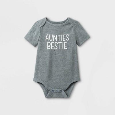 Baby 'Auntie's Bestie' Short Sleeve Bodysuit - Cat & Jack™ Gray 0-3M