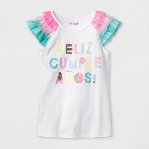 Girls' Short Sleeve Feliz Cumpleanos T-Shirt - Cat & Jack™ White - image 1 of 1