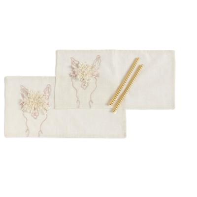Llama Set of Two Straws And Cocktail Napkins Gift Set - Off-White - Shiraleah