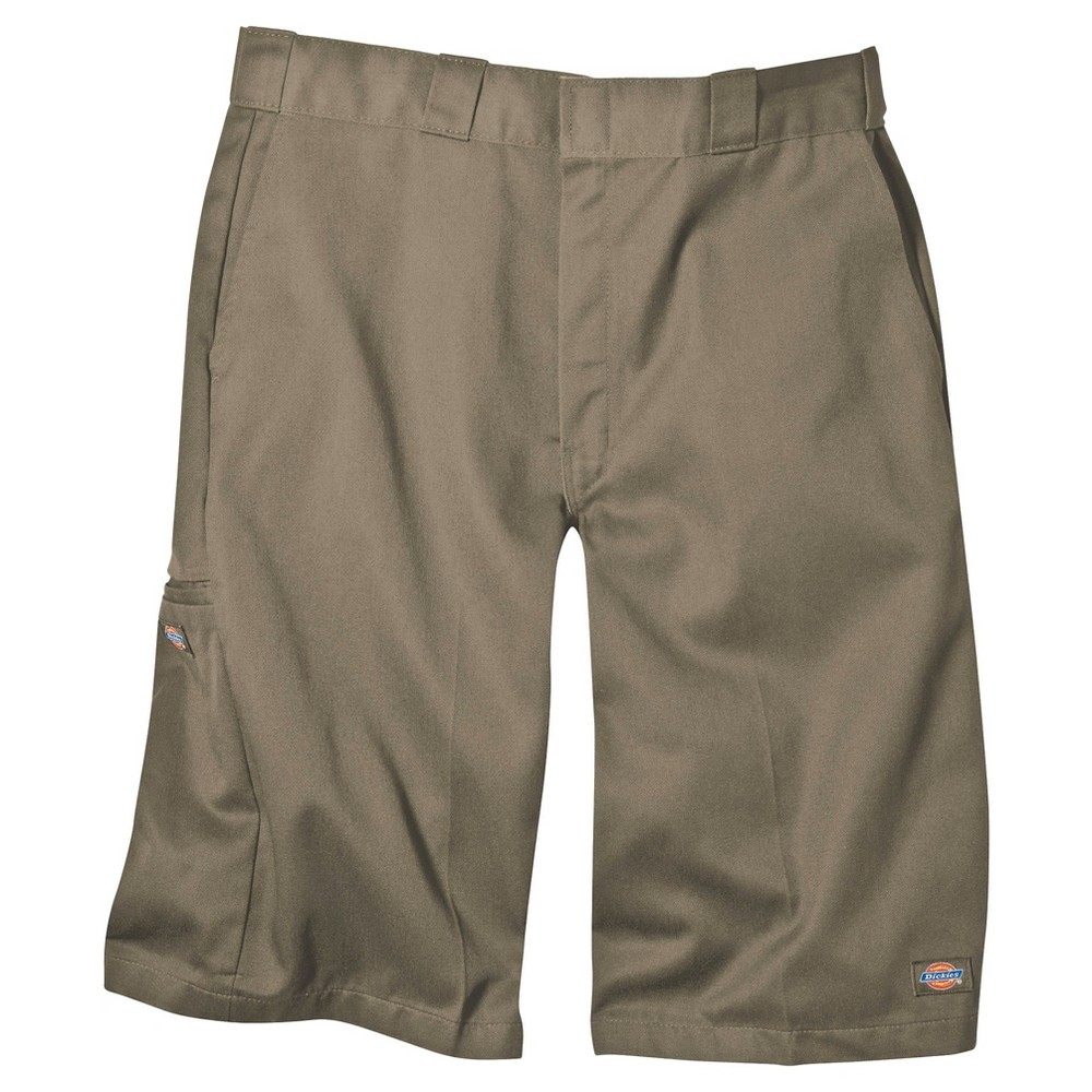 Dickies Men's Loose Fit Twill 13 Multi-Pocket Work Shorts- Khaki (Green) 34