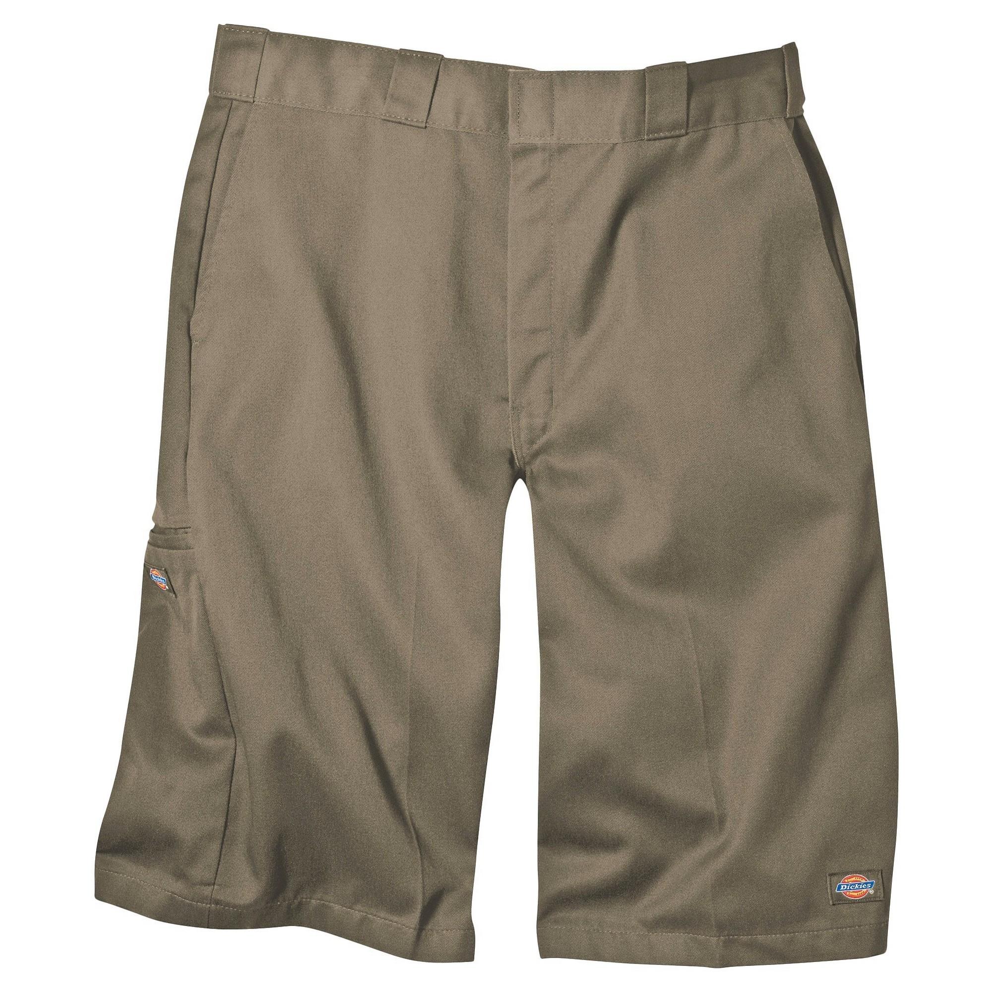 'Dickies Men's Loose Fit Twill 13'' Multi-Pocket Work Shorts- Khaki 32, Green'