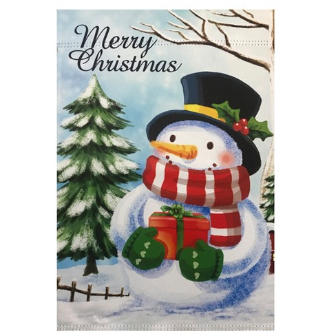 Northlight Merry Christmas And Snowman Outdoor Garden Flag 28 X 40 Target