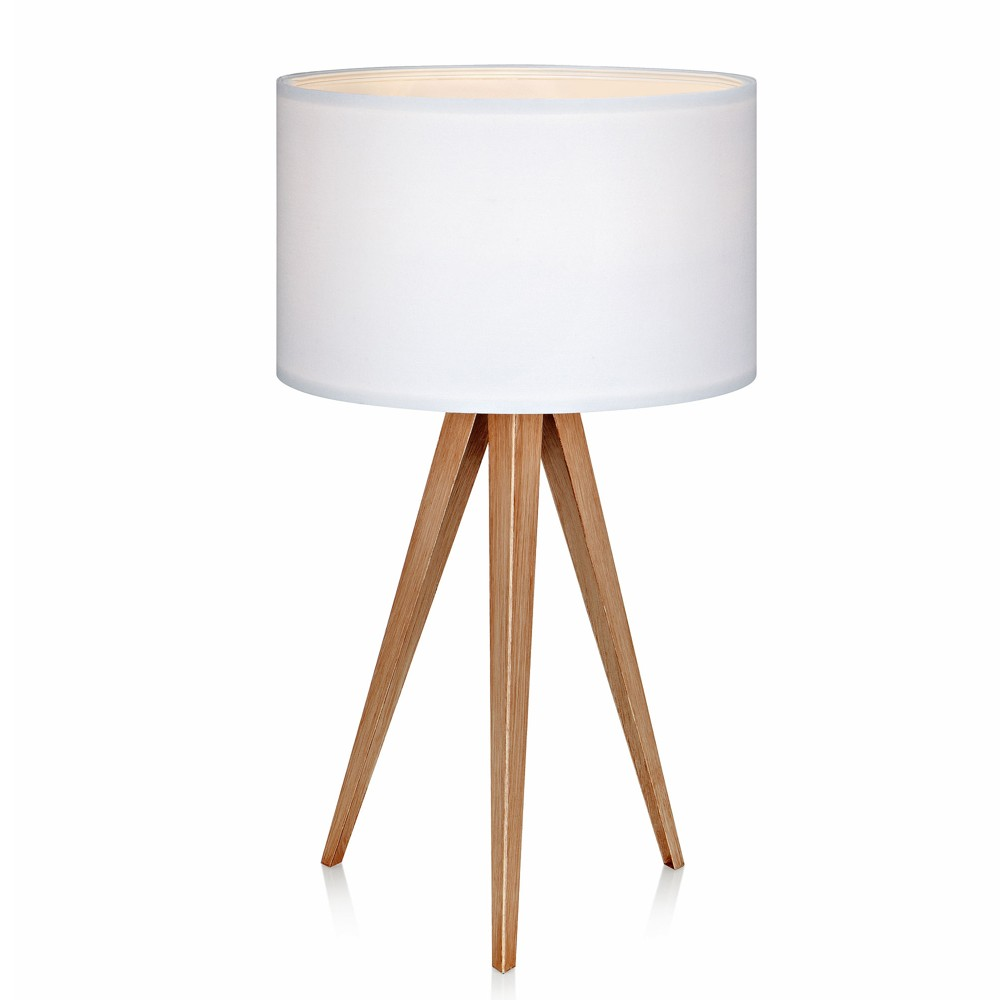 Image of Romanza Tripod Table Lamp with White Shade (Includes Energy Efficient Light Bulb) - Versanora