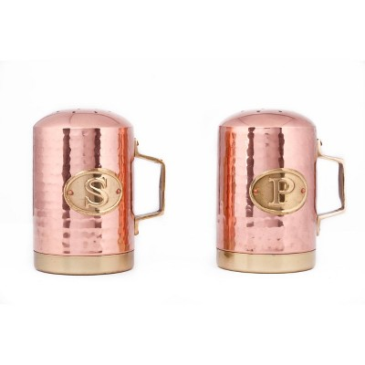 Old Dutch 2pc Stainless Steel Hammered Stovetop Salt and Pepper Set Copper