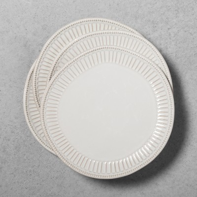 4pk Stoneware Debossed Dinner Plate Cream - Hearth & Hand™ with Magnolia