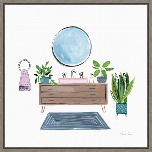 16 X 16 Bathroom I By Farida Zaman Framed Canvas Wall Art Green Amanti Art Target