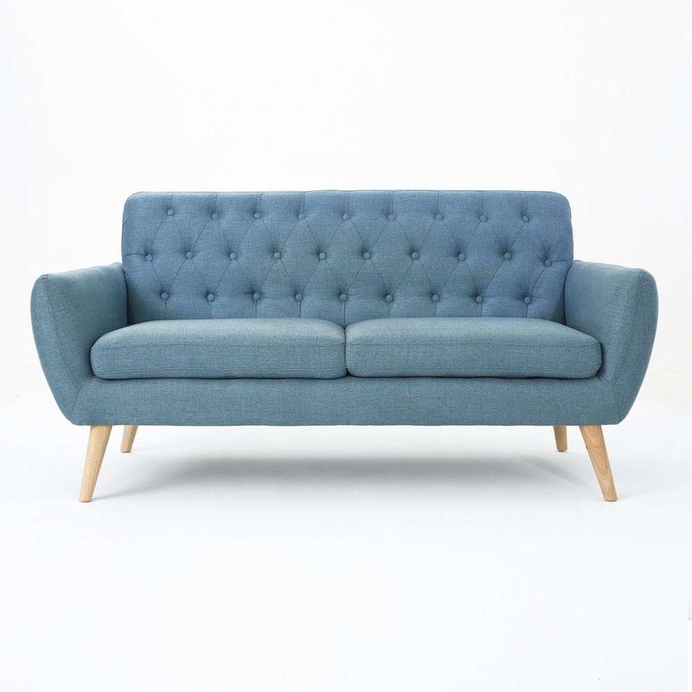 Bernice Petite Mid Century Modern Tufted Sofa Blue - Christopher Knight Home