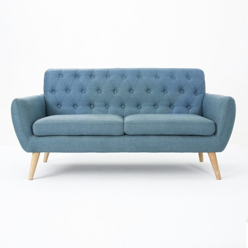 Pleasant Bernice Petite Mid Century Modern Tufted Sofa Blue Christopher Knight Home Squirreltailoven Fun Painted Chair Ideas Images Squirreltailovenorg