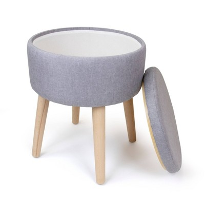 Round Storage Ottoman With Reversible Tray Cover - Humble Crew : Target