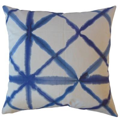 Shibori Square Throw Pillow White/Blue - Pillow Collection