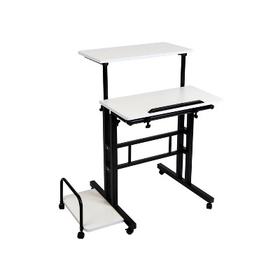 Black and White Rolling Sitting/Standing Desk with Side Storage - Mind Reader