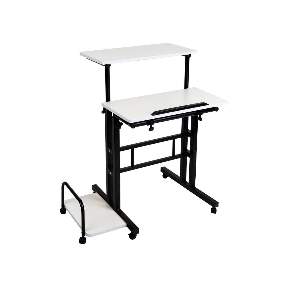 Mind Reader Sitting/Standing Desk with Wheels in White/Black