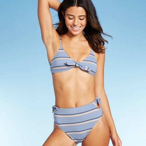 Women's Ribbed Tie Front Triangle Bikini Top - Xhilaration™ Blue Stripe - image 1 of 4